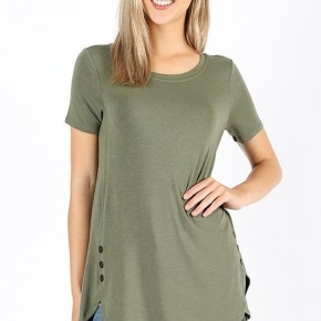 Short Sleeve Dolphin Hem Top with Button Accent in Light Olive