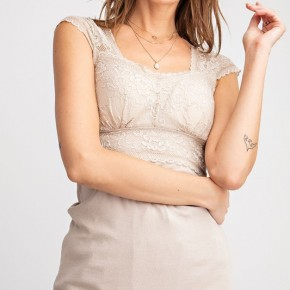 Rosie Lace Cap Sleeve Bralette Tunic in Eggshell