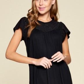 Eyelet Lace Tunic in Black