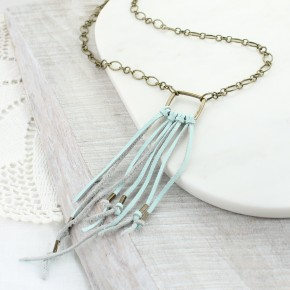 "32"" Seafoam Leather Tassel Necklace"