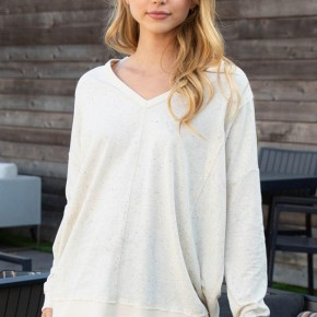 Long Sleeve Solid Knit Top in Oatmeal