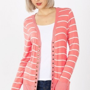 Striped Snap Button Cardigan in Coral