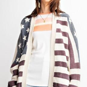 American Flag Open Cardigan