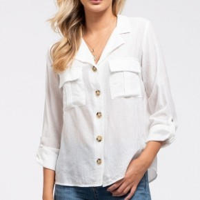 Woven Button Up Shirt in Off White
