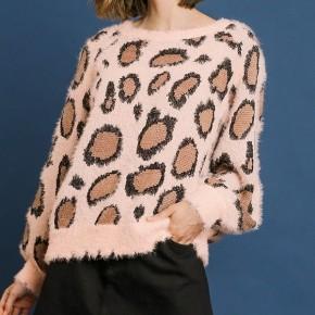 Umgee Animal Print Puff Sleeve Sweater