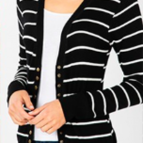 Striped Snap Button Cardigan in Black