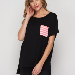 HoneyMe Short Sleeve Tunic Top with Contrast Pocket