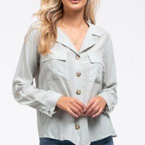Woven Button Up Shirt in Sea Foam