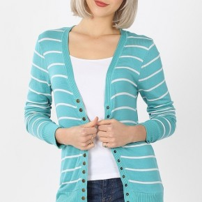 Striped Snap Button Cardigan in Ash Mint