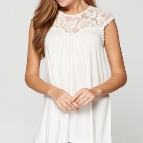 Stretch Lace Solid Tunic in Ivory