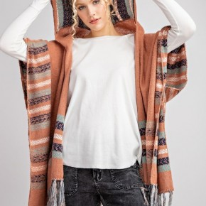 Terra Cotta Mercer Hooded Kimono Inspired Cardi