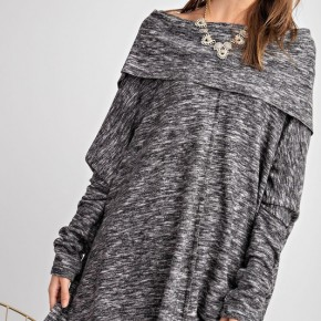 Black Cozy Up Cowl Neck Sweater - Size down