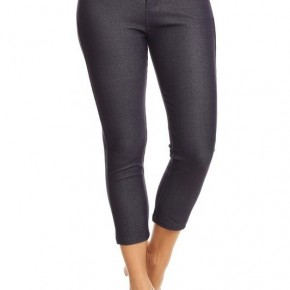 Women's Classic Solid Capri Jeggings in Navy Blue