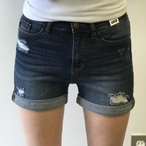 Judy Blue Dark Wash Cuffed High Waisted Shorts