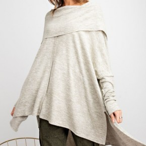 Oatmeal Cozy Up Cowl Neck Sweater - Size Down