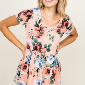 Peach Floral Tiered Top