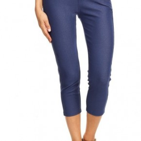 Women's Classic Solid Capri Jeggings in Denim Blue