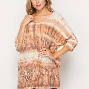 HoneyMe Tribal Tie Dye Brushed Dolman Top in Rust