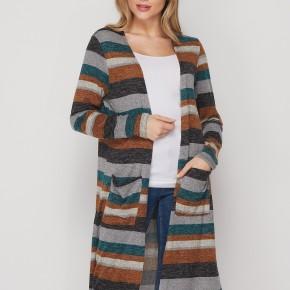 HoneyMe Plum Striped Long Sleeve Cardigan