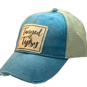 """Tanned & Tipsy"" Distressed Trucker Cap"
