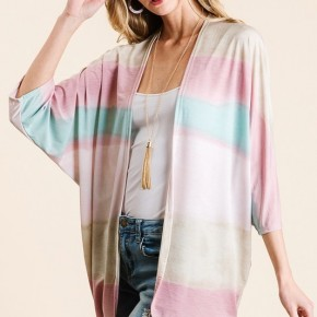 Ombre Print Cardigan in Pink Stripe