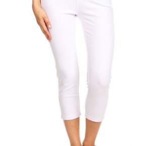 Women's Classic Solid Capri Jeggings in White