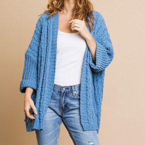 Umgee 3/4 Cable Knit Sweater Cardigan