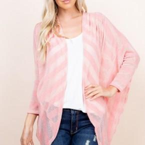 Pink Ribbed Knit Stella (Dolman) Cardigan