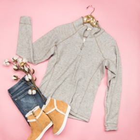 Taupe Half Zip Pullover