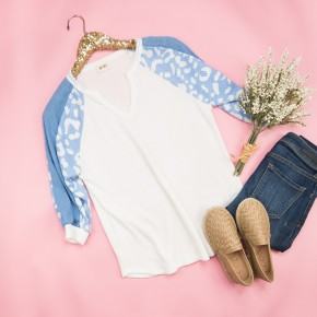 Blue Leo Waffle Top *all sales final*