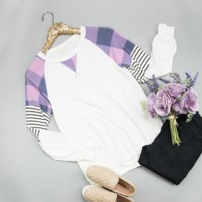Purple Plaid & Stripes Tee *ALL SALES FINAL