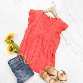 Red Flutter Blouse