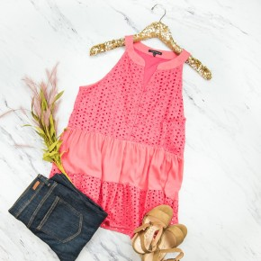Staccato Coral Eyelet Top