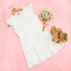 Summer White Flutter Dress