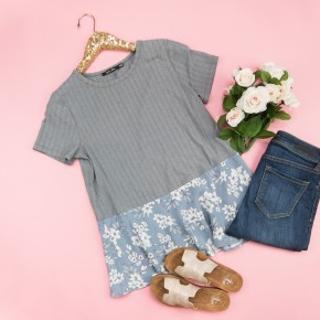 Slate Gray Floral Top *all sales final*