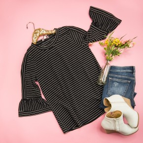 Pin Striped Bell Sleeve Tee *ALL SALES FINAL*