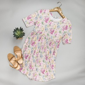 Muted Floral Print Dress