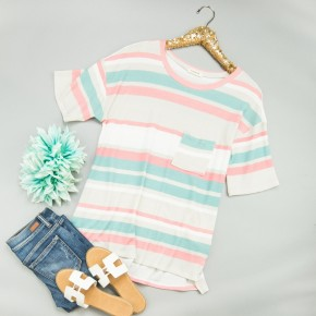 Cozy In Spring Striped Tee
