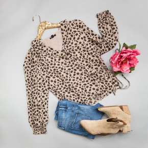 Leopard Spotted Work Blouse