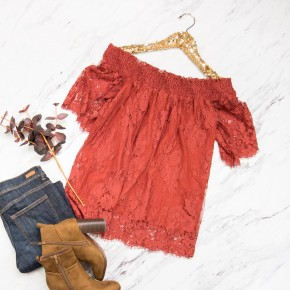Lace Off The Shoulder Top *ALL SALES FINAL*