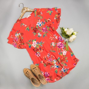 Red Spice Floral Dress