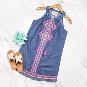 Pink Pop Embroidery Dress