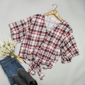 Berry Knot Plaid Top *all sales final*