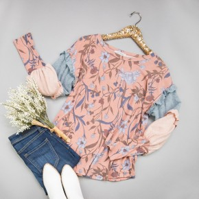 Ruffled Cup Floral Top *all sales final*