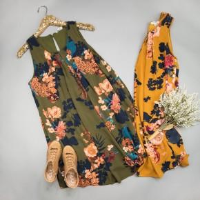 Fall Floral Tank Dress *all sales final*