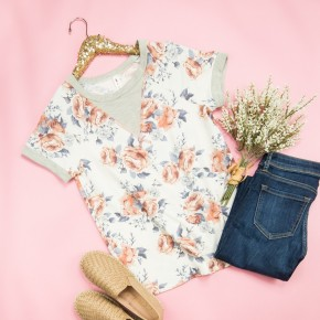 Muted Floral Simple Tee