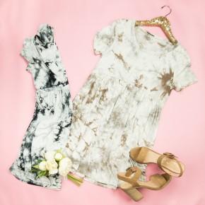 Marble Peplum Dress