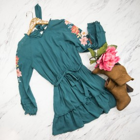 Teal Embroidered Sleeve Dress
