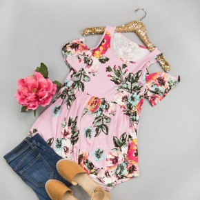 Powder Pink Floral Blouse