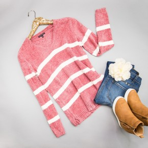 Pink Chenille Stripes Sweater